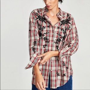 Zara Plaid Embroidered Button Up Tunic Top Sz S